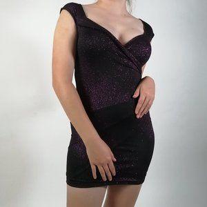 Little Purple Sequin Dress with Neckline